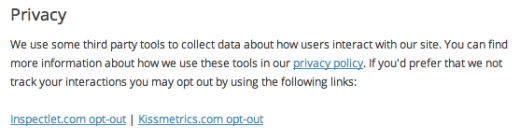 Screenshot from settings page with privacy notice