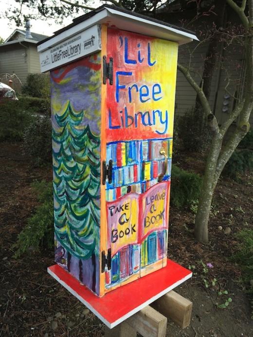 A Little Free Library box in Southeast Portland