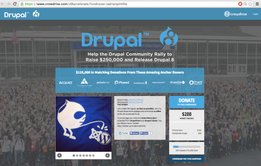 fundraising website for drupal 8 featuring a graphic of the Drupal logo peeing on the Joomla and WordPress logos
