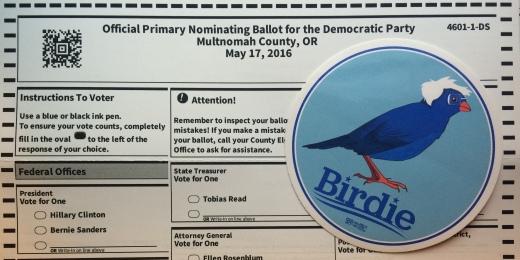 "Multnomah county primary nominating ballot with blue ""Birdie"" Bernie Sanders campaign sticker"
